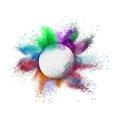 Foto de Decorative round frame with abstract colorful powder splash or explosion on a white background, copy space. - Imagen libre de derechos