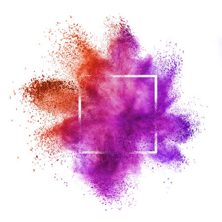 Foto für Square frame with abstract dust or powder splash in red and purple colors on a white background, copy space. - Lizenzfreies Bild