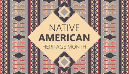 Illustration pour Native American Heritage Month is organized in November in USA. Tradition geometric ornament of indians is shown - image libre de droit