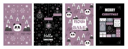 Ilustración de Christmas balls on greeting xmas cards in outline. Panda, mountain are in scandinavian style. Snowflakes are falling. Promo gift, winter sale posters sketches. Minimal vector doodles set of New year. - Imagen libre de derechos