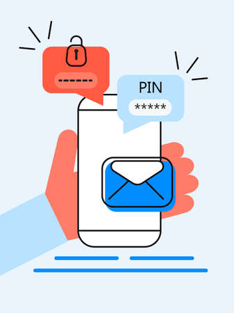 Illustration pour Verification pin code, security code message. Smartphone with e-mail, bubble chat. Verification online in control system for personal account, banking. Two step authentication - image libre de droit