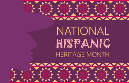 Illustration pour National Hispanic Heritage Month celebrated from 15 September to 15 October USA. Latino American poncho ornament vector for greeting card - image libre de droit