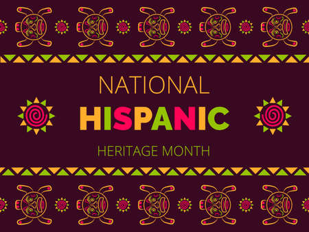 Illustration pour National Hispanic Heritage Month celebrated from 15 September to 15 October USA. Latino American poncho ornament vector for greeting card, banner, poster - image libre de droit