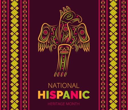 Illustration pour Latino American poncho ornament vector for greeting card. Parrot, cockatoo, eagle, toucan illustration embroidery. National Hispanic Heritage Month from 15 September to October .. - image libre de droit