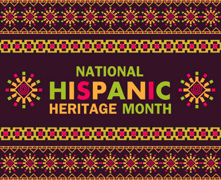 Illustration pour National Hispanic Heritage Month celebrated from 15 September to 15 October USA. Latino American poncho ornament vector for greeting card, banner, poster and background. - image libre de droit