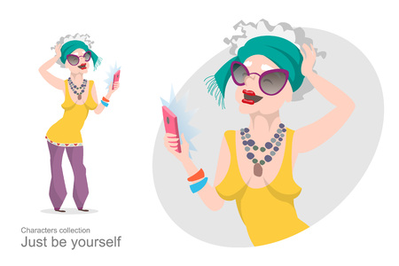 Illustration for Old woman in bright stylish clothes makes selfie. Modern pensioner. Mobile devices and gadgets. Self-expression. Cartoon style. - Royalty Free Image