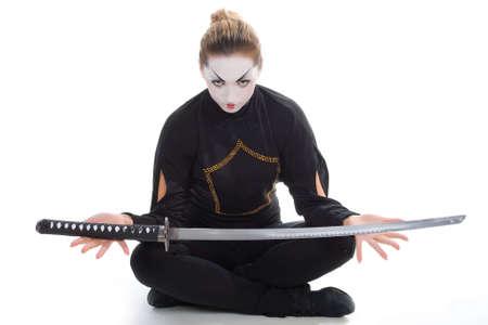 Portrait of mystic girl with sword.