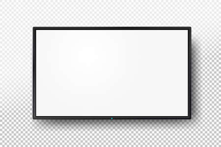Illustration pour Realistic TV screen. Modern lcd wall panel, led type, isolated on white background. Blank television template. Graphic design element. Large computer monitor display mockup. Vector illustration - image libre de droit
