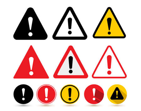 Illustration pour Set of the attention icon. Danger symbol flat design. Attention sign with exclamation mark icon. Risk sign red black and yellow. Vector illustration. Isolated on white background - image libre de droit