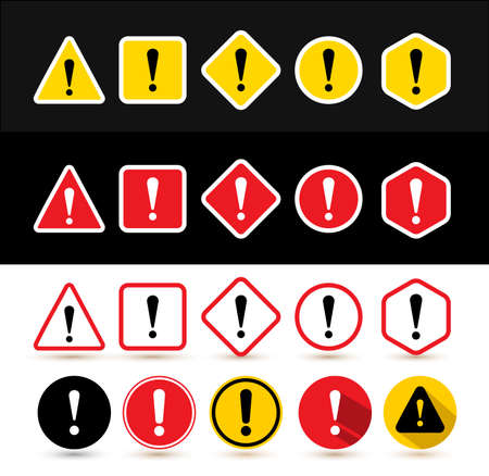 set of attention signs shapes triangle square rhombus circle
