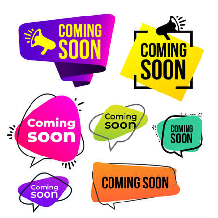Ilustración de Set of coming soon icon. Vector illustration. Isolated on white background. - Imagen libre de derechos
