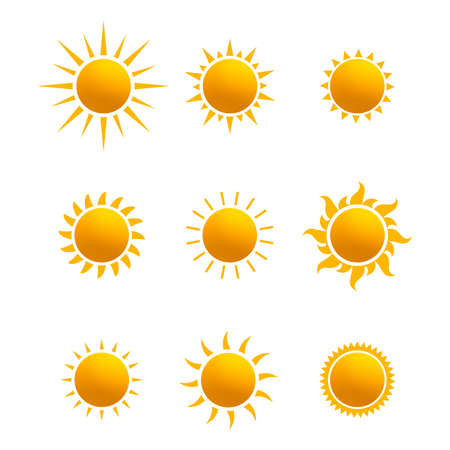 Illustration pour Set of realistic sun icon for weather design. Sun pictogram, flat icon. Trendy summer symbol for website design, web button, mobile app. Template vector illustration. Isolated on white background. - image libre de droit