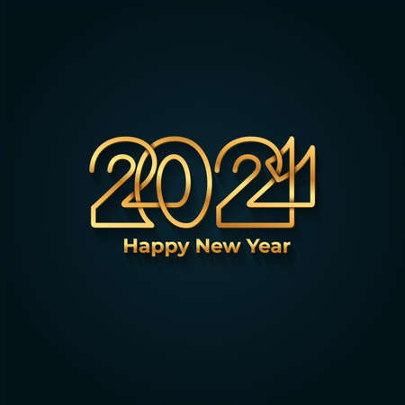 Illustration for Happy New Year 2021 banner. Golden luxury text, gold glowing numbers. Vector illustration. Isolated on blue background. - Royalty Free Image