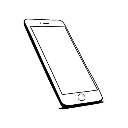 Photo pour Hand drawn sketch of mobile phone - image libre de droit