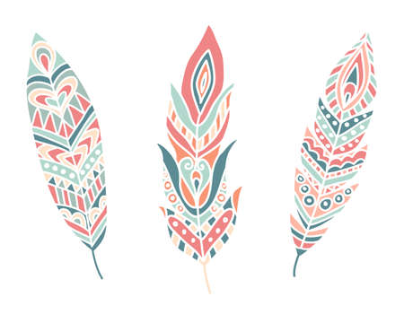 Ethnic Feathers. Hand drawn design elements. Vector Illustration