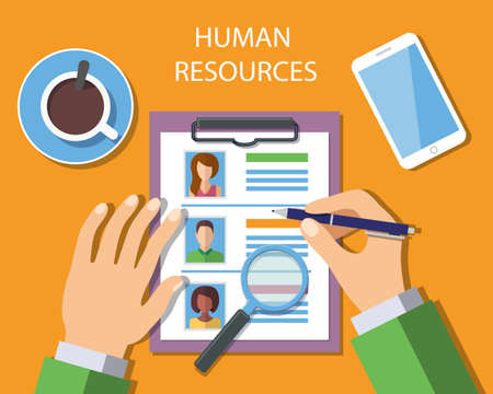 Human Resources Management Concept, Man analyzing personnel resume. Vector Illustration