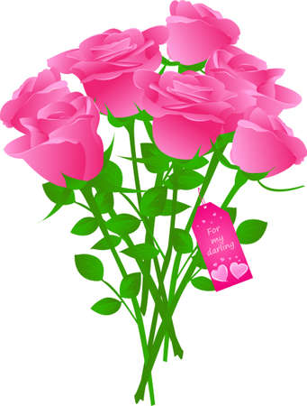 Illustration pour Vector bouquet of roses with gift tag with words  - image libre de droit
