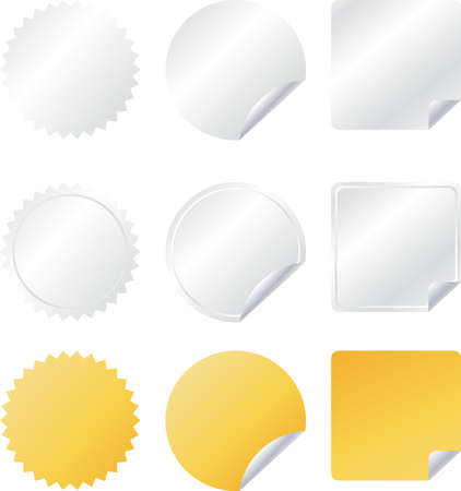 Vector badges set in gray, white and yellow color like stickers