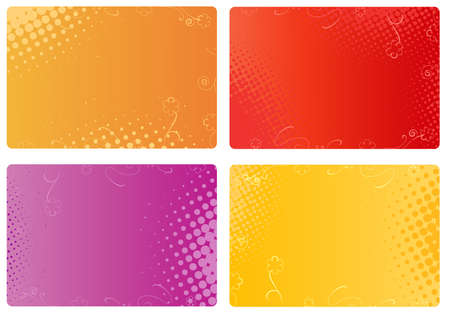 Illustration for Multicolored templates for business cards, banners with floral and halftone design - Royalty Free Image