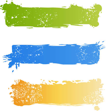 Three grungy multicolored banner set