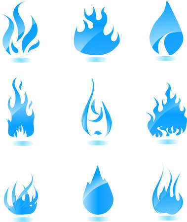 Big set of glossy vector fire icons for your design