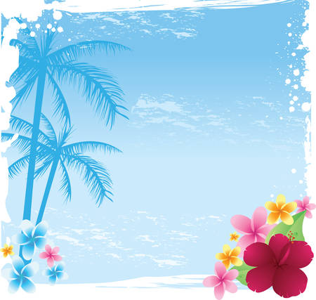 Illustration pour Grunge tropical banner with palms and tropical flowers - image libre de droit