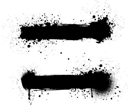 Grunge black banners for yours designs