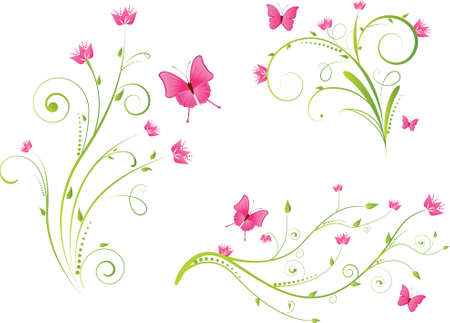 Set of beautiful floral elements with flowers and butterflies