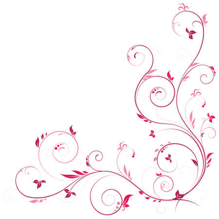 Floral corner in pink color with swirls decoration elements