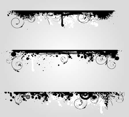 Three different grunge banners with floral swirl elements