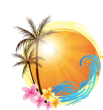 Illustration for Round banner with palms and ocean's wave and water splash - Royalty Free Image