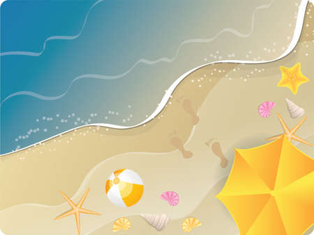 Beach ocean  banner with umbrella, starfishes and flip-flops. Top view.