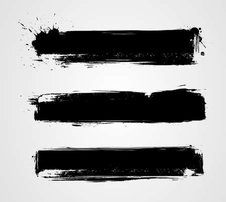 Ilustración de Set of three black grunge banners for your design - Imagen libre de derechos