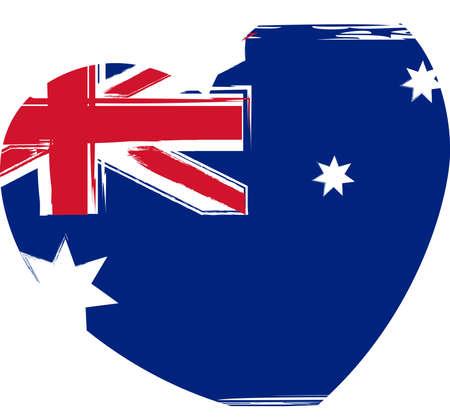 Grunge Australia flag in heart shape