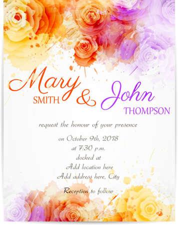 Foto de Wedding invitation template with abstract roses on watercolor background - Imagen libre de derechos