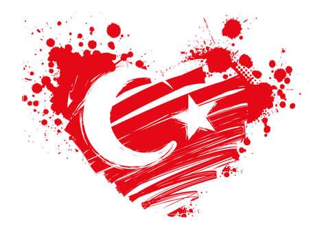 Illustration pour Grunge flag of Turkey in heart shape for your designs - image libre de droit