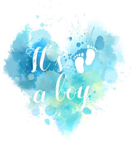Illustration pour Baby gender reveal concept illustration. Watercolor imitation heart.  It's a boy. Blue colored. - image libre de droit