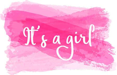 Illustration pour Baby gender reveal concept illustration. It's a girl. Pink colored. - image libre de droit