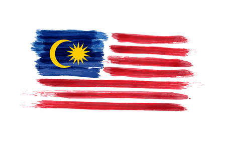 Watercolor imitation brushed Flag of Malaysia. Jalur Gemilang. Vector illustration.