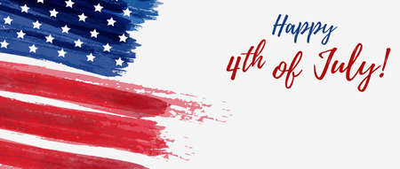 Illustration pour USA Independence day background. Happy 4th of July. Vector abstract grunge brushed flag with text. - image libre de droit