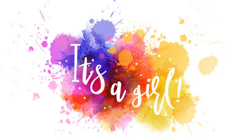 Illustration pour Baby gender reveal concept illustration. Watercolor imitation multicolored splash blot. It's a girl. - image libre de droit