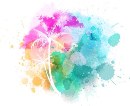 Illustration pour Watercolor imitation splash with palm trees. Bright colored - image libre de droit