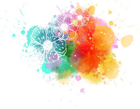 Illustration pour Painted stroked flowers on watercolor colorful splash background. - image libre de droit