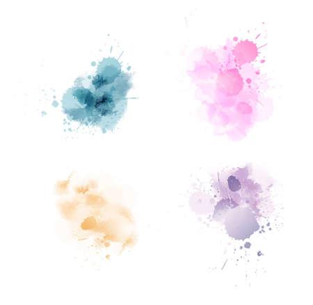 Illustration pour Set of multicolored watercolor paint blot splashes - image libre de droit