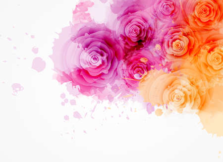 Illustration pour Abstract background with watercolor colorful splashes and rose flowers. Pink and orange colored. Template for your designs, such as wedding invitation, greeting card, posters, etc. - image libre de droit