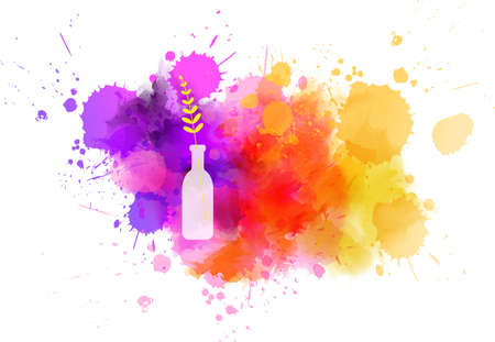 Illustration for Bottle vase with abstract flower on watercolor paint splash.  Spring concept. - Royalty Free Image