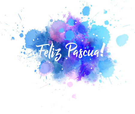 Illustration pour Feliz Pascua - Happy Easter in Spanish. Abstract watercolor imitation splash background with calligraphy text. Easter concept background. - image libre de droit