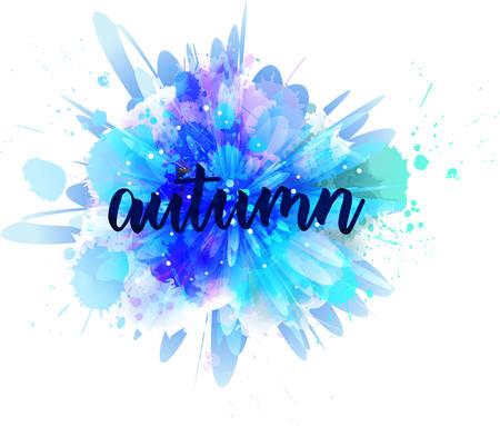Illustration pour Autumn - handwritten modern calligraphy lettering on abstract watercolor splash. Season illustration. Blue colored. - image libre de droit