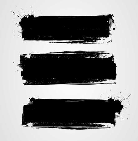 Illustration pour Set of three black grunge banners for your design. Abstract painted background templates. Horizontal banners - image libre de droit