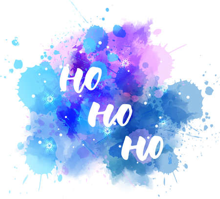 Illustration pour Ho ho ho -  decorative Christmas holiday handwritten calligraphy handlettering. On watercolor blue and purple paint splash blot with snowflakes. Xmas concept illustration. - image libre de droit